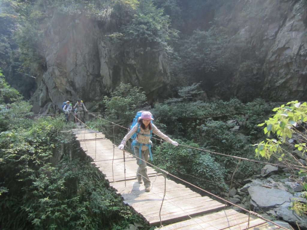 Chuandiding mountain, North Guangdong, wooden bridge on the way to Luokeng