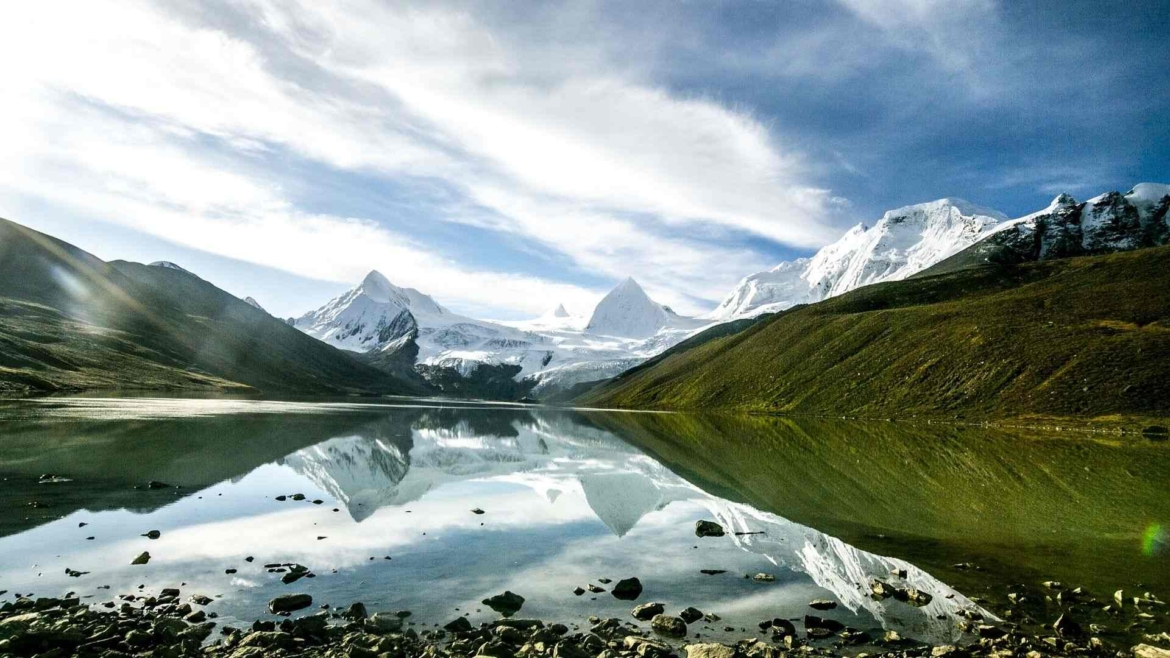 A lake and snowy peaks in Trans-Himalaya
