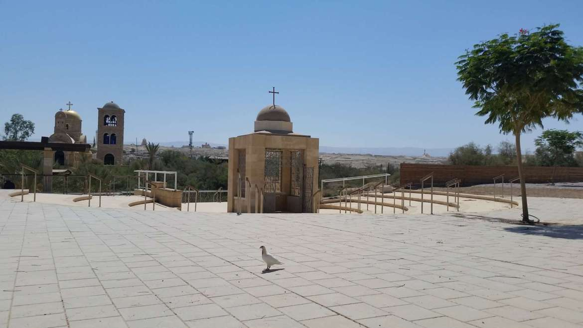 Israel itinerary- Jordan River baptism site- the Chapel and a dove