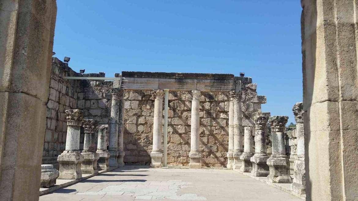 Israel itinerary- the Synagogue of Capernaum, the place where Jesus often has preached the Gospel