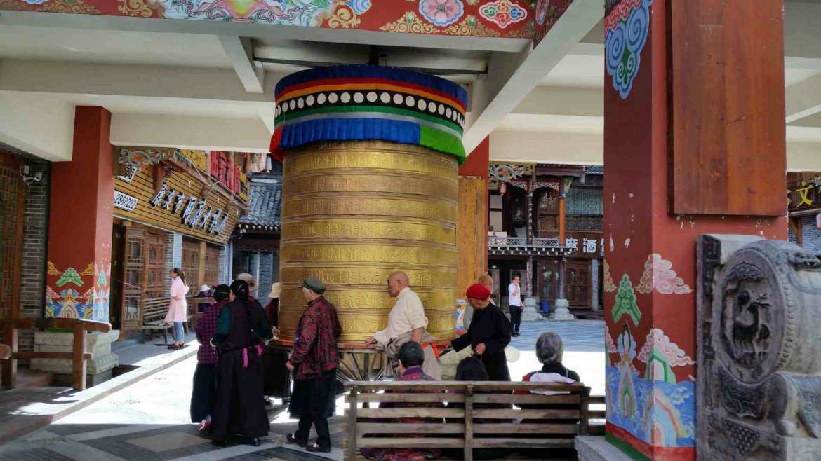 The prayer wheel in the Old Town of Kangding