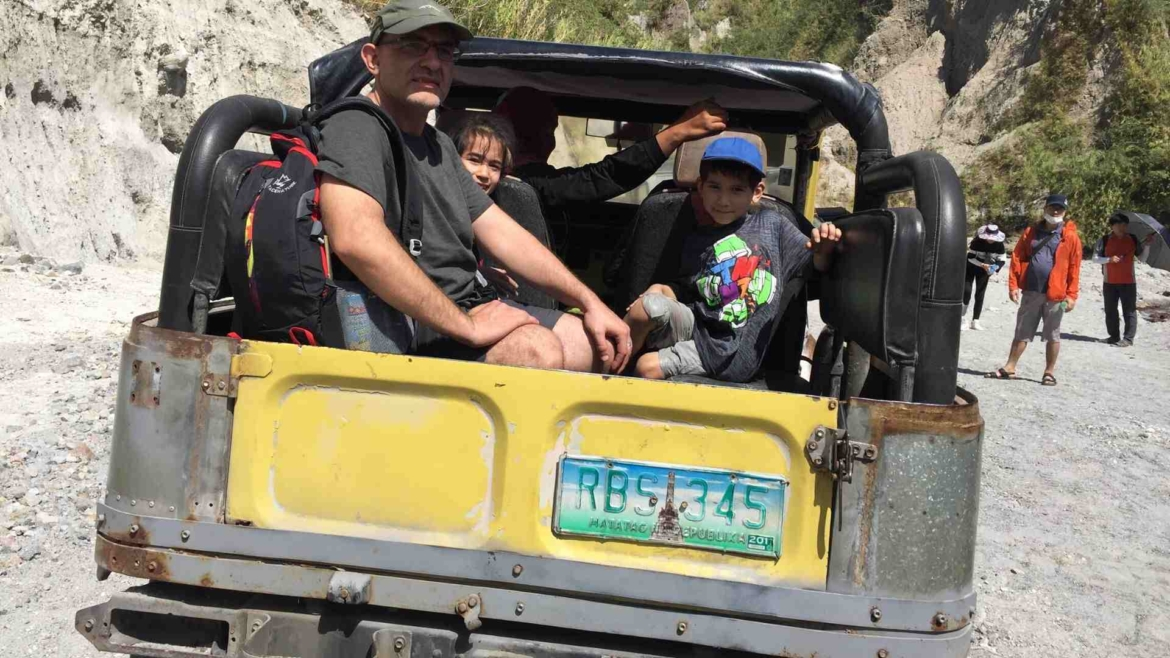 In an offroad vehicle for Mount Pinatubo trekking
