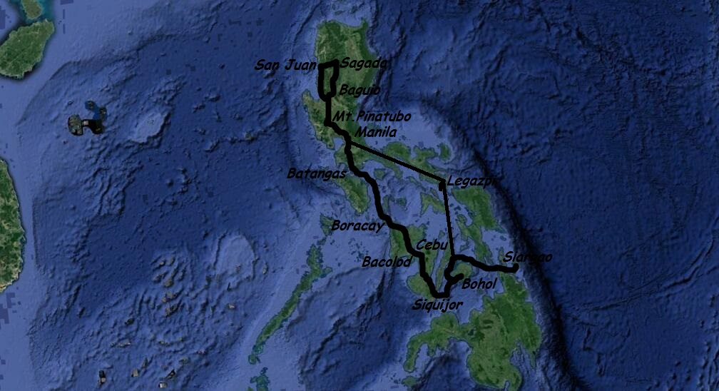 Our 26 days route in the Philippines