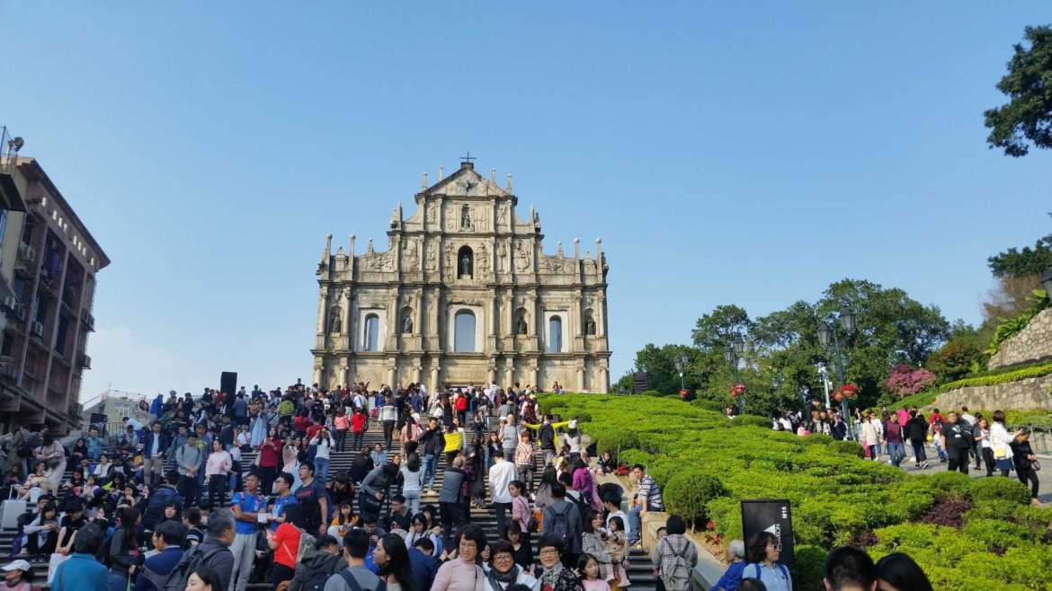 The Ruins of St. Paul and the tourist crowds, Macau