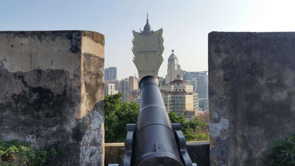 The cannon pointing to Grand Lisboa from Monte Fortress, Macau
