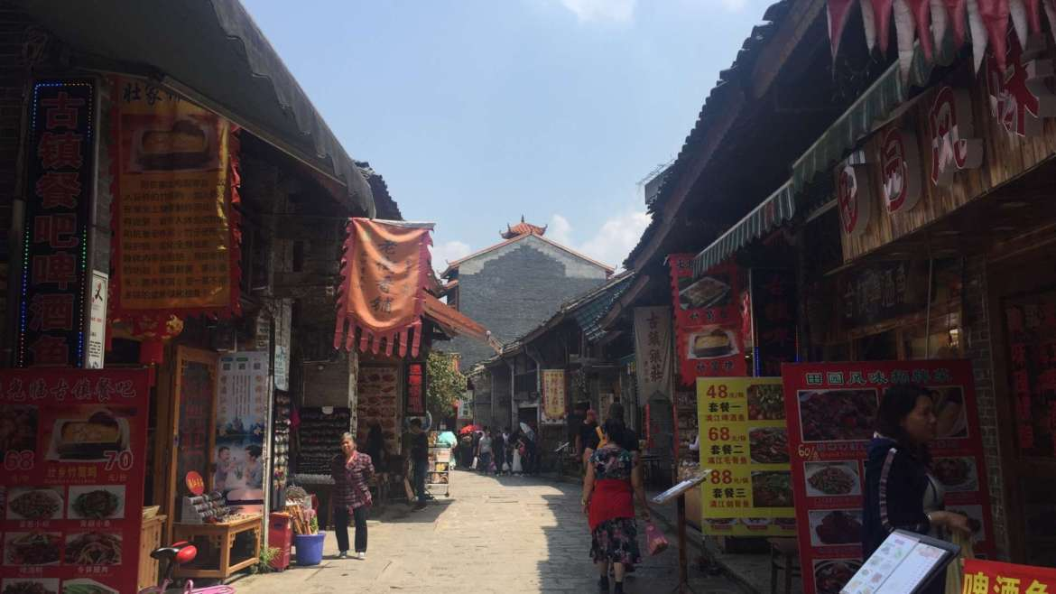 Guilin Karst Hills- On the street of Xingping Old Town