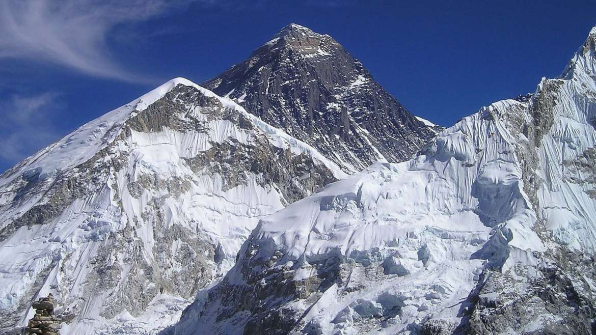 Mount Everest in the Himalayas, Nepal, one of the fourteen 8000ers
