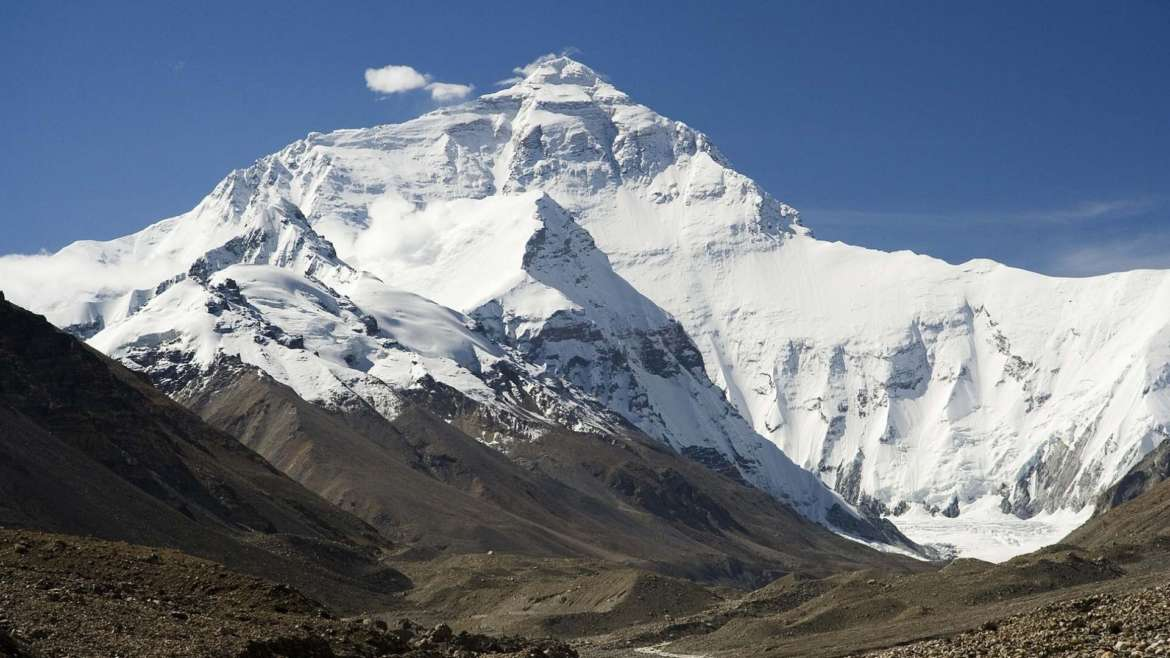 Mount Everest in the Himalayas, from the Chinese side, one of the fourteen 8000ers