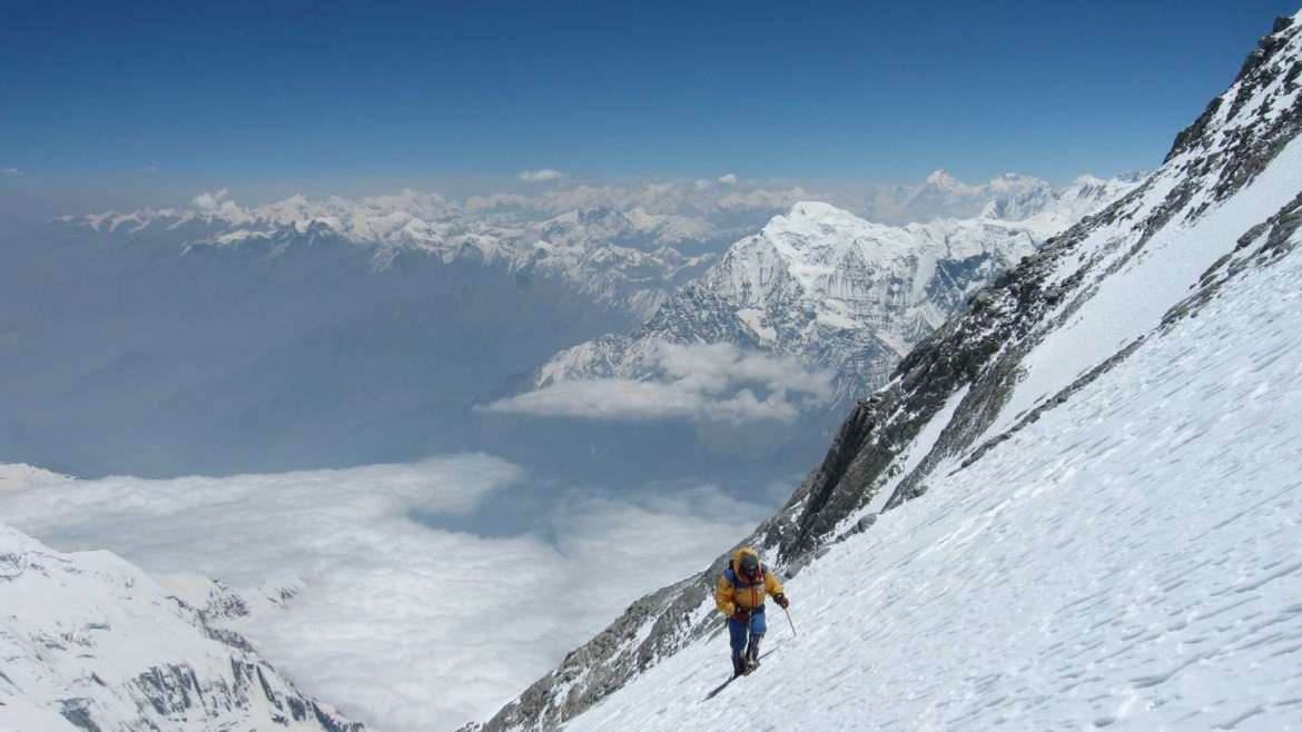 High altitude trekking on Dhaulagiri, one of the fourteen 8000ers