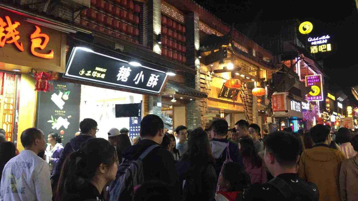 Over-tourism, Crowds in the Western Street, Yangshuo, China