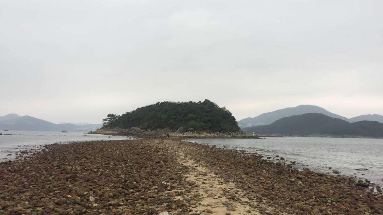 The sandbar connecting Sharp Island with Kiu Tau Island, Sai Kung, Hong Kong