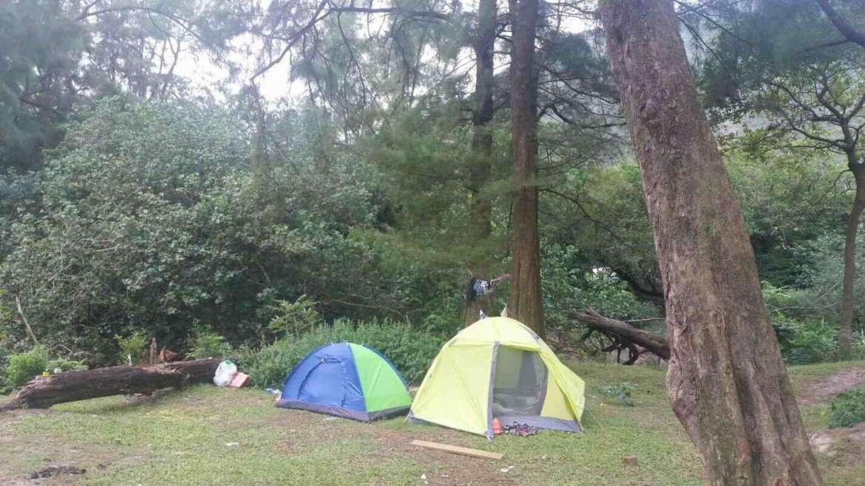 Camping in the forest near Sai Wan Beach, Sai Kung, Hong Kong