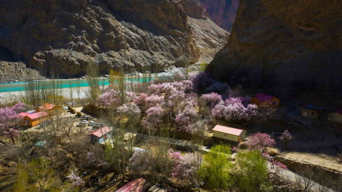 Travel on the Karakoram Highway in Xinjiang, China- Gez River Valley in springtime