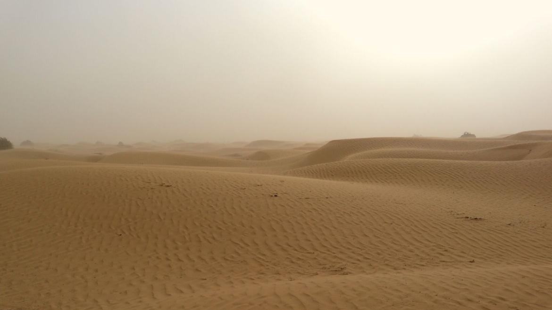 Moderate sand storm in Taklamakan Desert