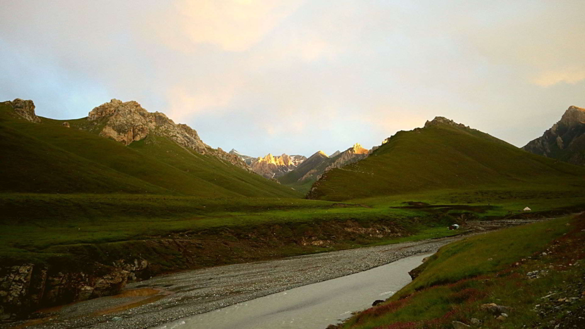 Valley north of Tielimaiti Pass in Narat Range of Tianshan