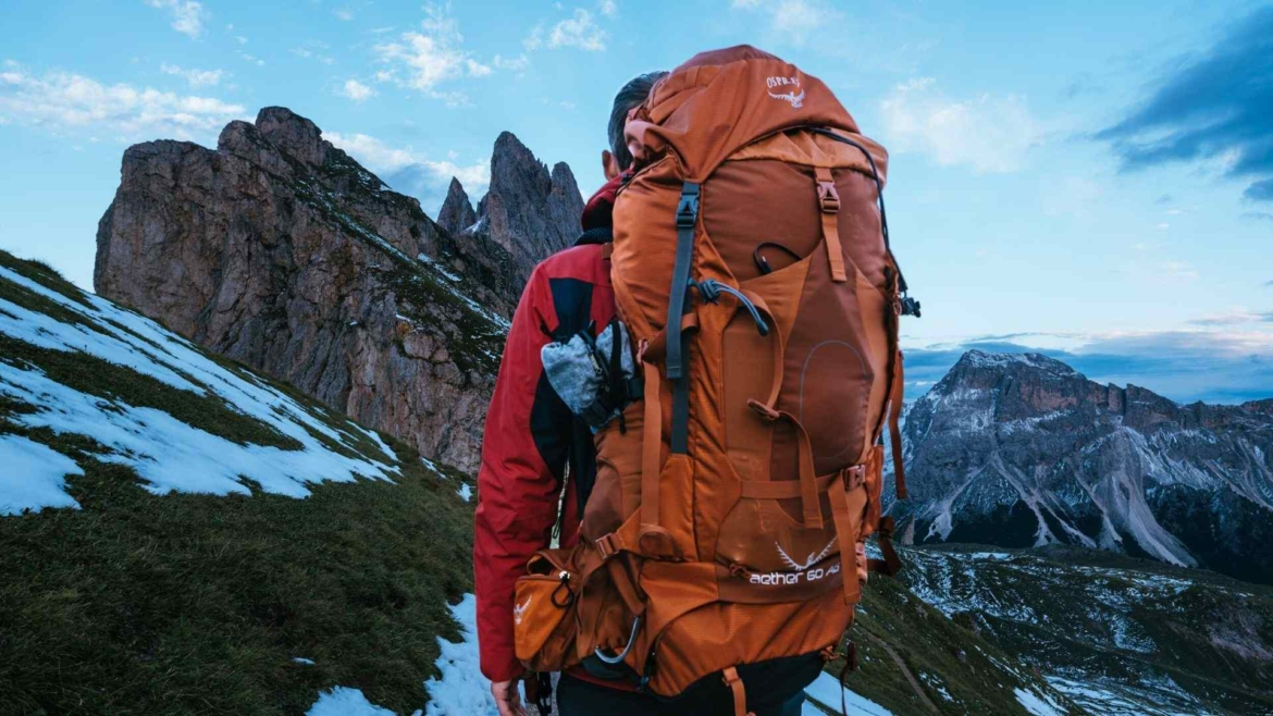Trekking on the high mountain with Osprey Aether backpack