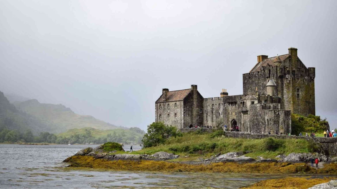 Exploring a castle in Scotland, Britain