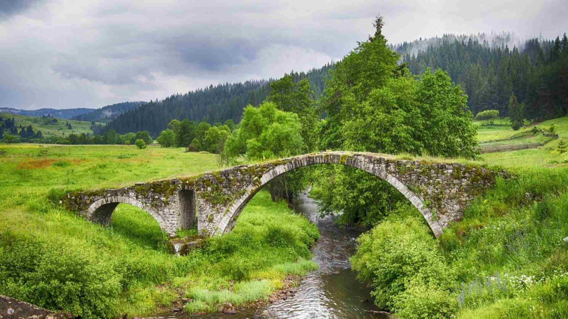 Forests, meadows, streams and an ancient bridge in Rhodope