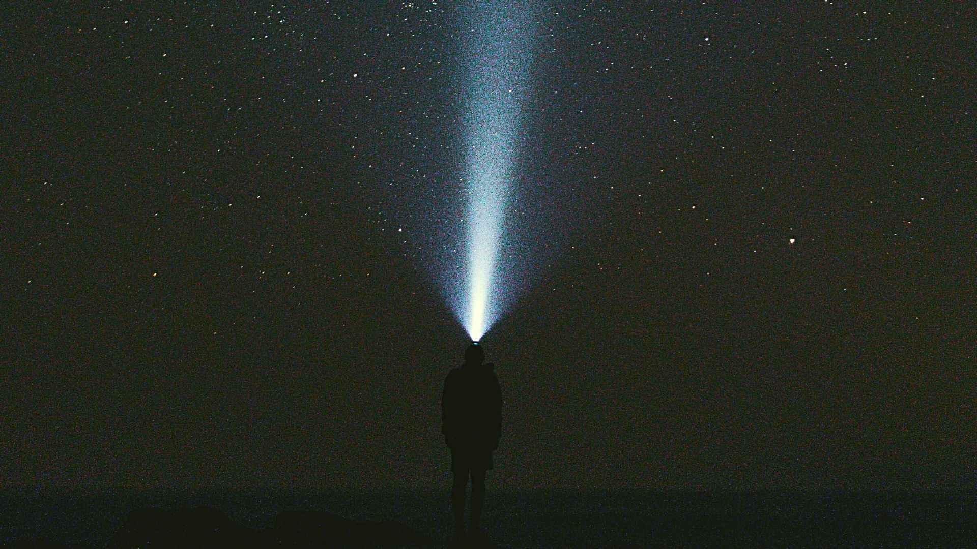 Headlamp in the night sky