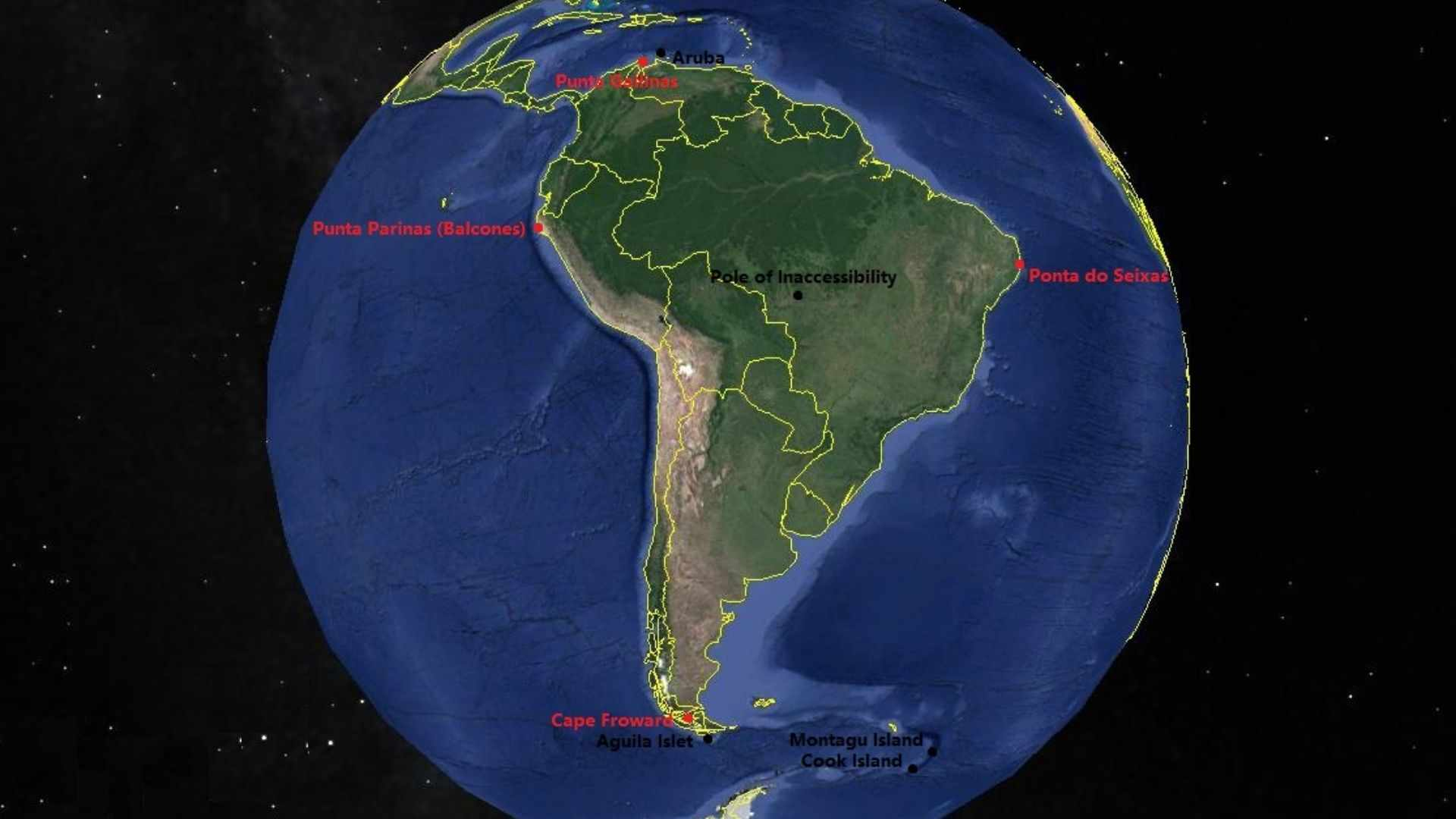 The extreme points of South America