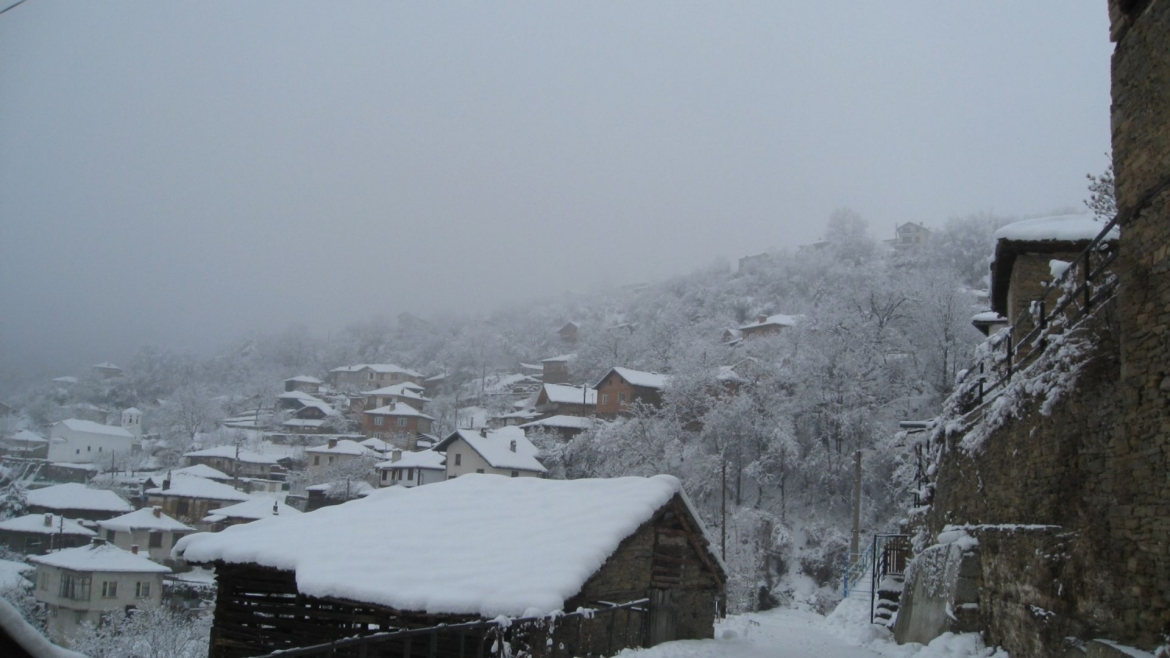 A mountain village in winter