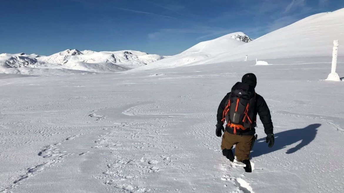 On a winter trail in Rila Mountain