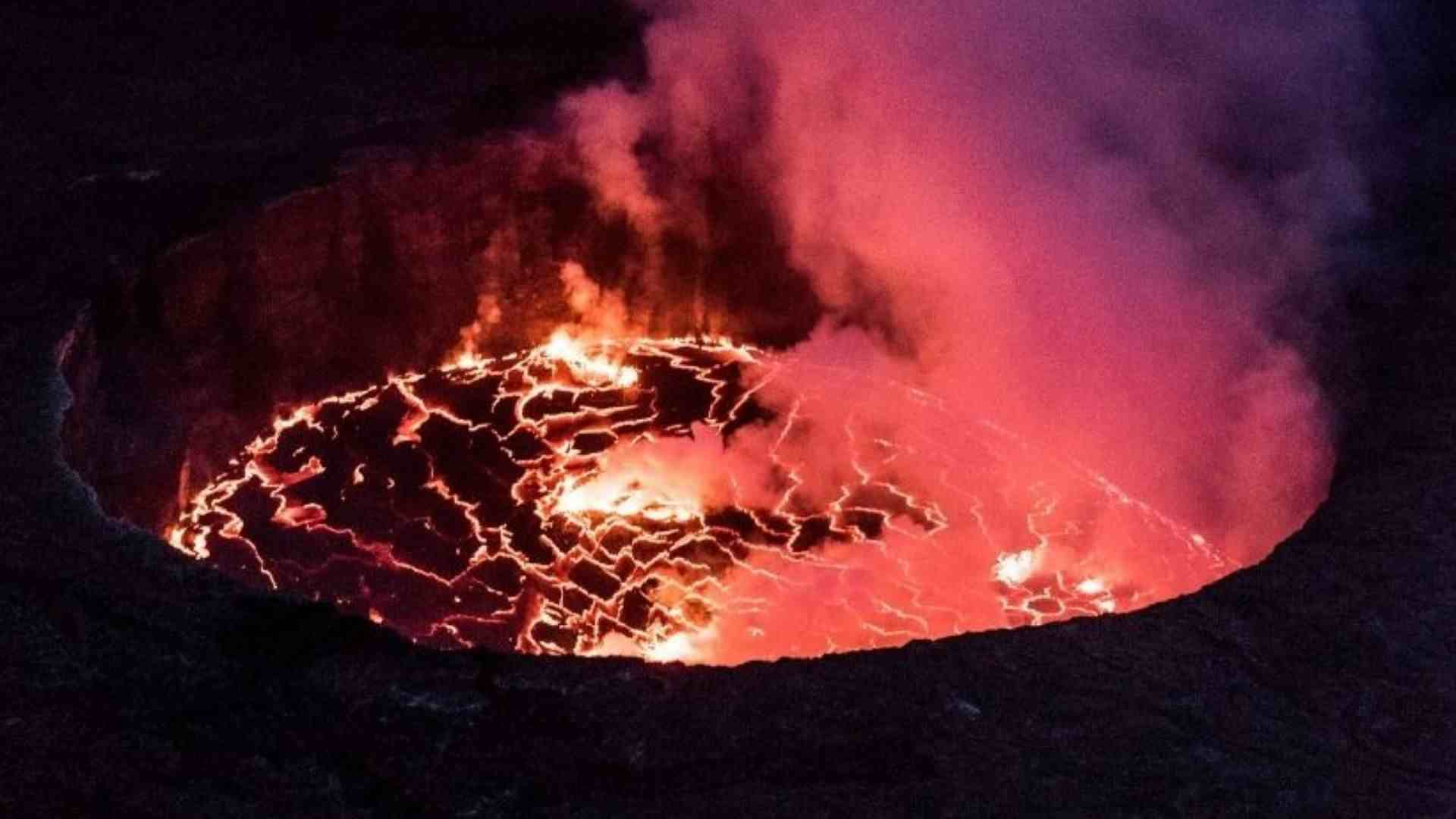 The lava lake of Mount Nyiragongo