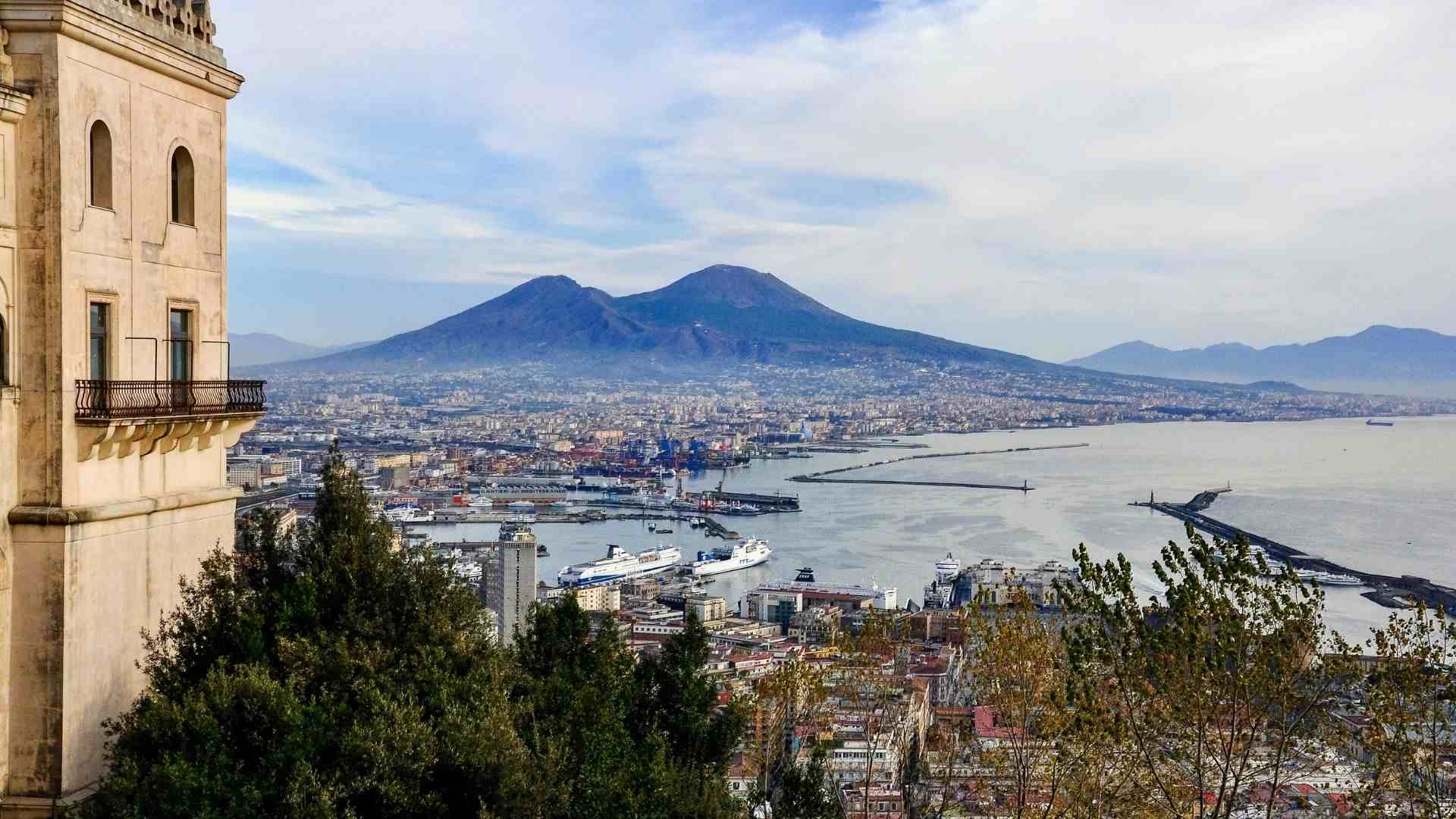 Mount Vesuvius and the city of Naples