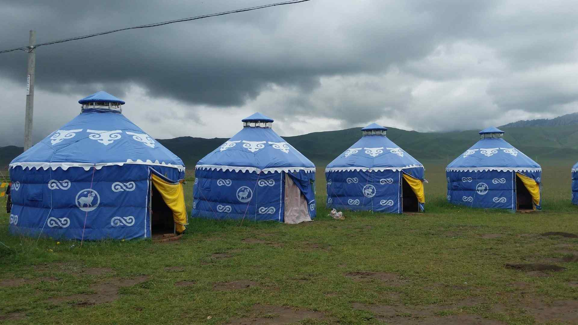 Yurts for accommodation on the Zoige Grassland